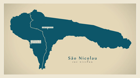 praia: Modern Map - Sao Nicolau with municipalities CV