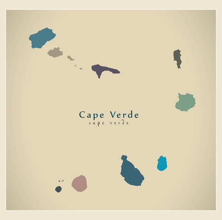 praia: Modern Map - Cape Verde colored CV