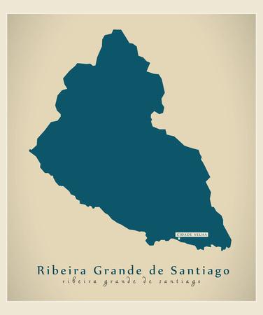 praia: Modern Map - Ribeira Grande de Santiago CV