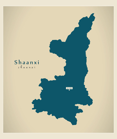 Modern Map - Shaanxi CN region illustration silhouette