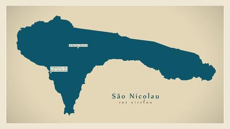 praia: Modern Map - Sao Nicolau CV