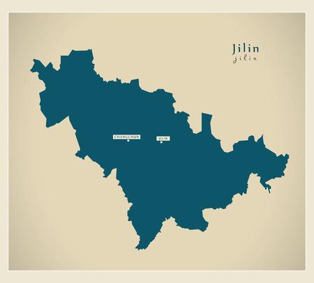 Modern Map - Jilin CN region illustration silhouette