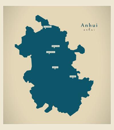 anhui: Modern Map - Anhui CN region illustration silhouette
