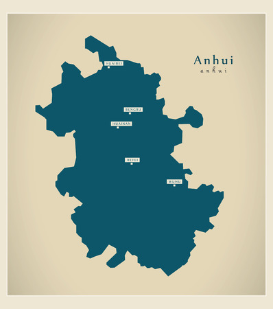 Modern Map - Anhui CN region illustration silhouette