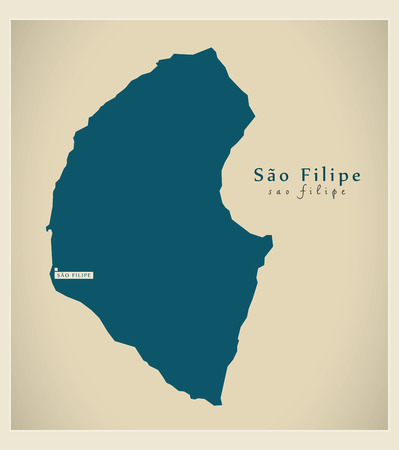 praia: Modern Map - Sao Filipe CV Illustration