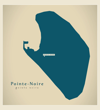 noire: Modern Map - Pointe-Noire CG illustration silhouette Illustration
