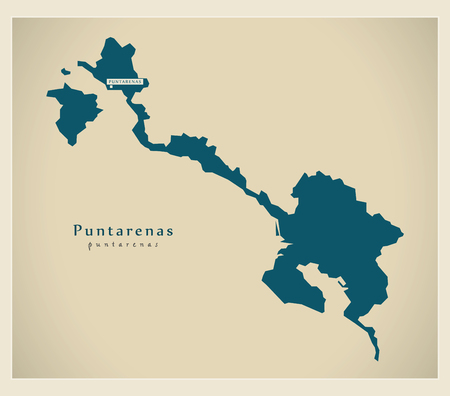 cr: Modern Map - Puntarenas CR illustration silhouette Illustration