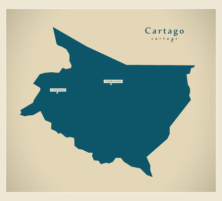 cr: Modern Map - Cartago CR illustration silhouette
