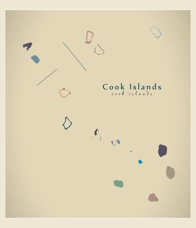 details: Modern Map - Cook Islands details colored CK