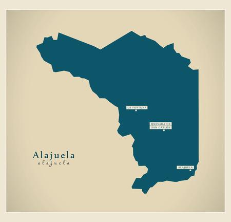 Modern Map - Alajuela CR illustration silhouette
