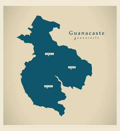 cr: Modern Map - Guanacaste CR illustration silhouette