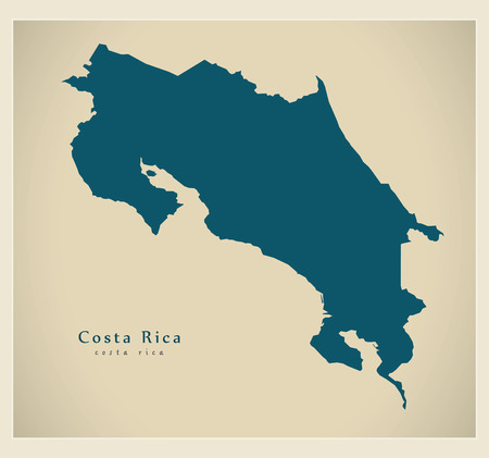 cr: Modern Map - Costa Rica CR mainland silhouette