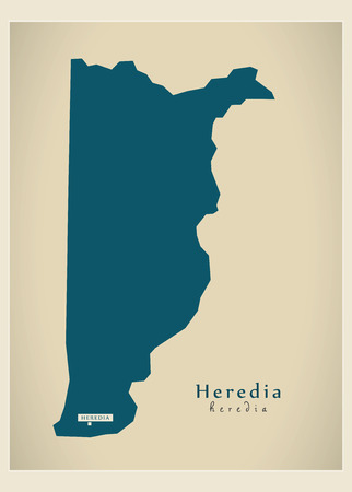 cr: Modern Map - Heredia CR illustration silhouette