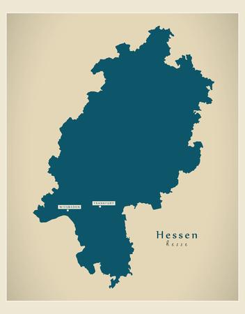 Modern Map - Hessen DE new design refreshed illustration