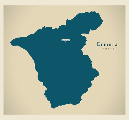 Modern Map - Ermera TL illustration silhouette