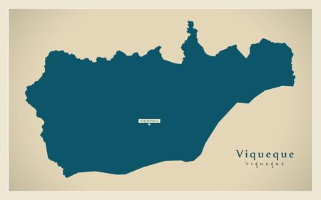 Modern Map - Viqueque TL illustration silhouette