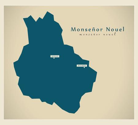 dominican republic: Modern Map - Monsenor Nouel DO illustration silhouette Illustration