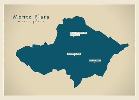 Modern Map - Monte Plata DO illustration silhouette. Stok Fotoğraf - 74001572