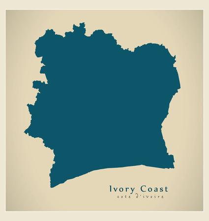 Carte moderne - silhouette illustration CI Côte d'Ivoire Banque d'images - 74129250