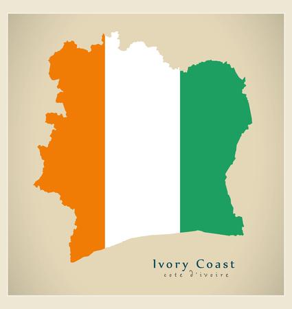 Modern Map - Ivory Coast flag colored CI illustration silhouette