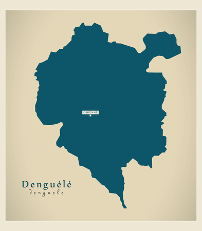 Modern Map - Denguele CI illustration silhouette