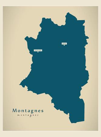 Carte moderne - Silhouette illustration Montagnes CI Banque d'images - 74129260