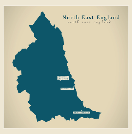 Modern Map - North East England UK refreshed design