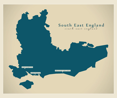 Modern Map - South East England UK refreshed design