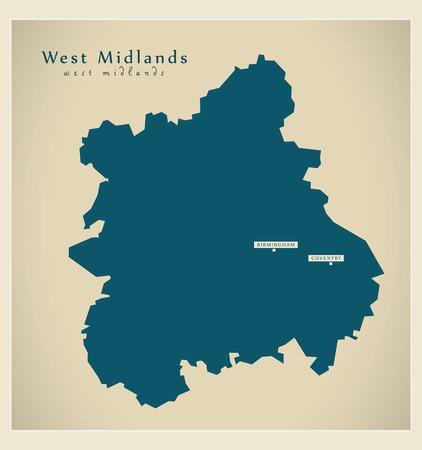 Modern Map - West Midlands UK refreshed design
