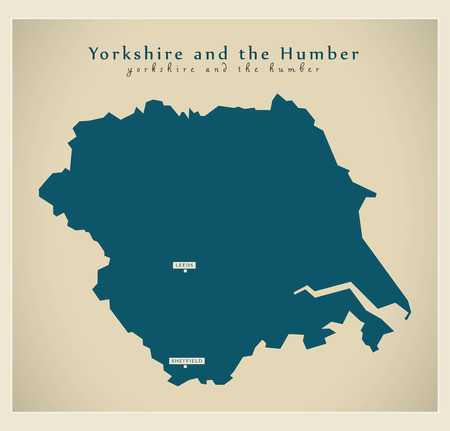 yorkshire and humber: Modern Map - Yorkshire and the humber UK refreshed Illustration