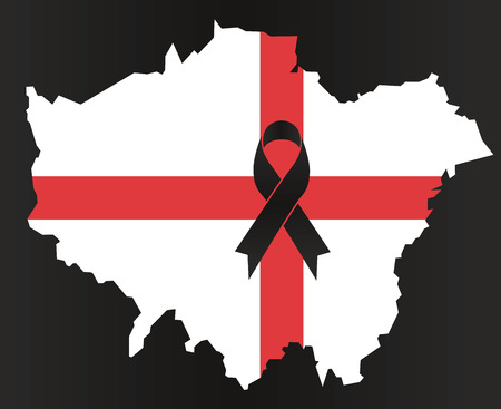 London condolence map - black ribbon with the flag of England