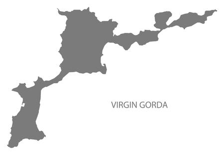 virgin islands: Virgin Gorda British Virgin islands map grey illustration silhouette Illustration