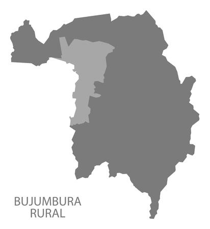 Bujumbura Rural Burundi province map grey illustration silhouette Illustration