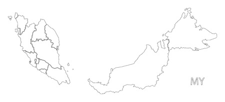 Malaysia outline silhouette map illustration with states.