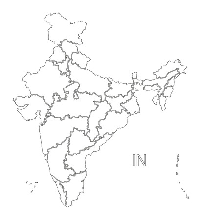Inde contour silhouette illustration carte avec les États.