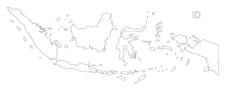 Indonesia outline silhouette map illustration. 矢量图像