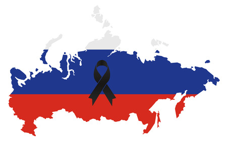 Russia condolence map - black ribbon with Russian flag Illustration