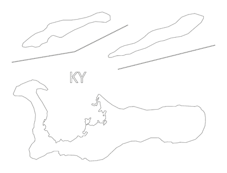 cayman islands: Cayman Islands outline silhouette map illustration