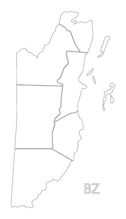 Belize outline silhouette map illustration with districts