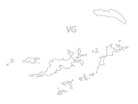 virgin islands: British Virgin Islands outline silhouette map illustration Illustration