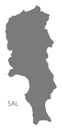 Sal Cape Verde municipality map grey illustration silhouette