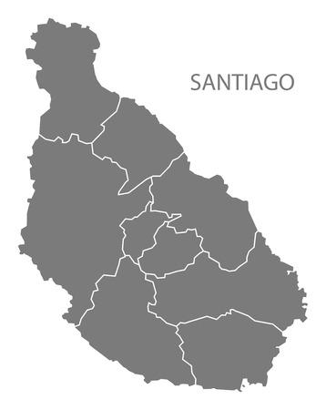 Santiago Cape Verde municipality map grey illustration silhouette Illustration