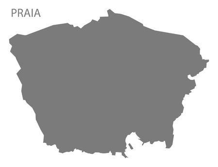 praia: Praia Cape Verde municipality map grey illustration silhouette Illustration