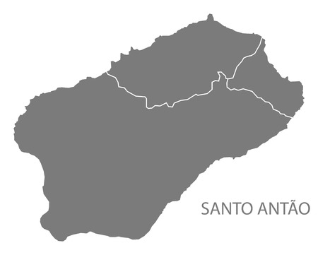 Santo Antao Cape Verde municipality map grey illustration silhouette