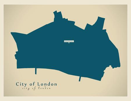 Modern Map - City of London borough Greater London UK England.