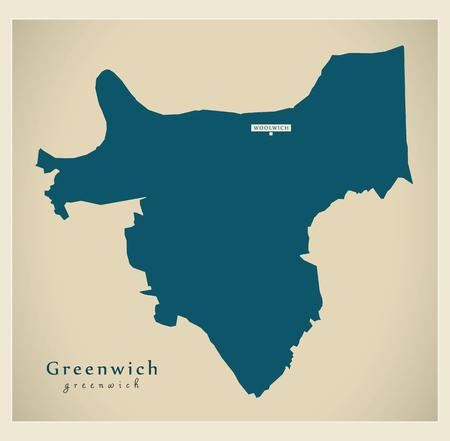 Greenwich borough Greater London UK England Vektoros illusztráció