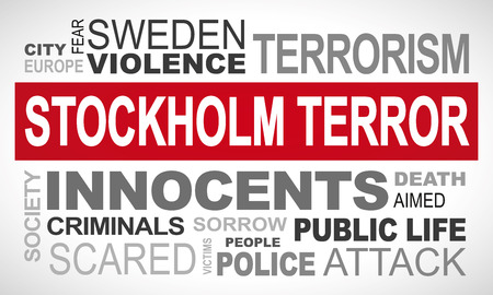 Stockholm terror attack in Sweden - word cloud illustration english