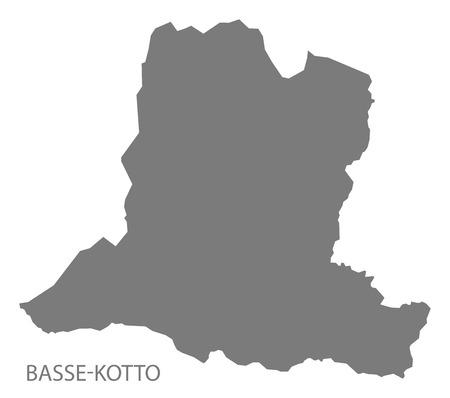 Basse-Kotto prefecture map grey illustration silhouette 일러스트