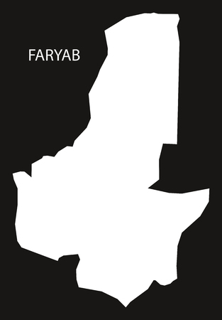 inverted: Faryab Afghanistan map black inverted silhouette illustration