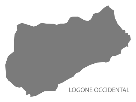 Logone Occidental Chad region map grey illustration silhouette 일러스트